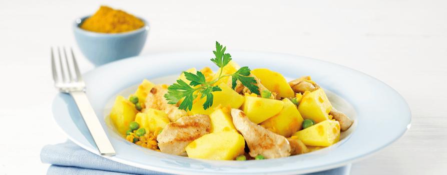 Rezept Kartoffel Currylinsen Mit Poulet