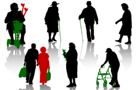 Schattenbilder älterer Personen