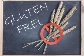Tafel auf der Glutenfrei steht