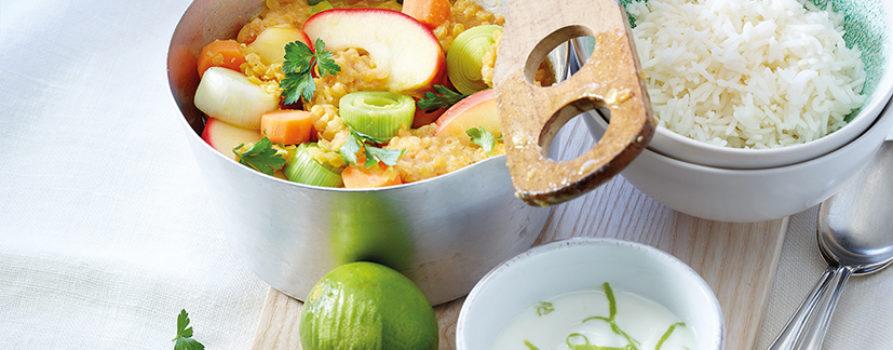 Rezept Apfel Linseneintopf Mit Limettenjoghurt
