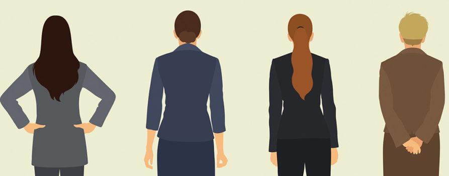 Zeichnung von vier Frauen, Rückenansicht