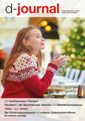 Titel d-journal, Frau sitzt draussen und trinkt warmen Kaffee