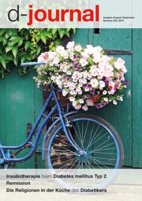 Titel d-journal 235. Blaues Fahrrad mit Blumenkorb