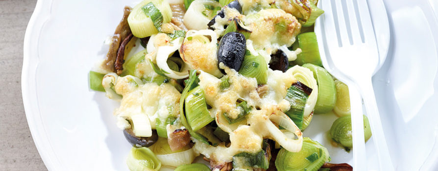 Rezept Lauch Pilzgratin Mit Oliven