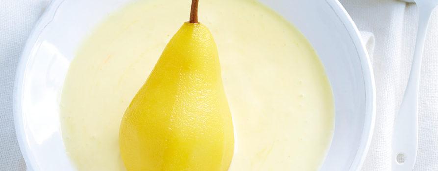 Pochierte Birnen Mit Safranjoghurt