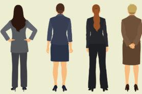 Vier Frauen Rückenansicht