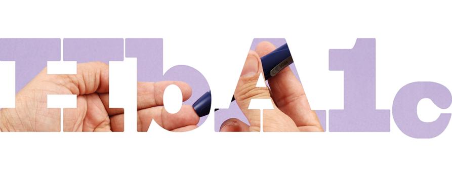 HbA1c-Schriftzug mit BZ-Messung im Hintergrund