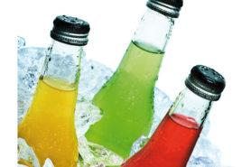 Softdrinks orange, grün, rot