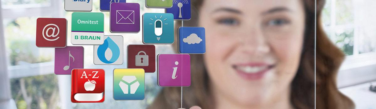 Junge Frau und viele Apps-Icons