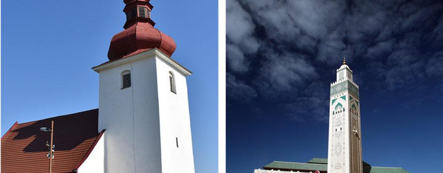 Kirche in dxer Slowakei und Moschee in Marokko