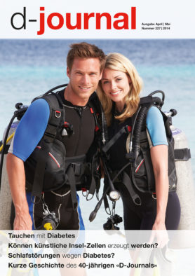 Titelseite d-journal 227, junges Paar bereits zum Tauchen