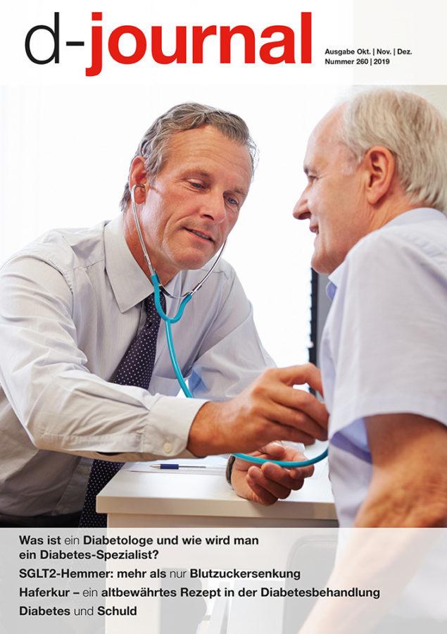 Titelbild d-journal 260 Arzt untersucht älteren Patienten