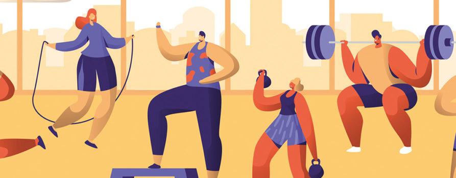 Comiczeichnung diverser Sportler